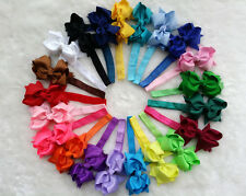 """4""""  21 pcs Baby Infant Girl hairband Hair Bows Clips with elastic headbands H"""