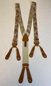 Vintage Trafalgar Suspenders Calvin Curtis Fox Hunt 100% Silk & Leather EUC