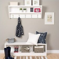 NEW Floating Entryway Shelf with Bench in White Coat Rack Storage Seat Display
