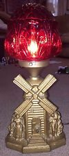 Antique SPELTER 1920's Art Deco Figural Windmill Lamp w/ Red Deco Globe Shade !!