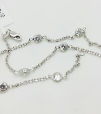 "the Yard Anklet Bracelet Chain 10"" 14k Solid White Gold Cubic Zirconia By"