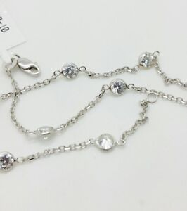"""14k Solid White Gold Cubic Zirconia By the Yard Anklet Bracelet Chain 10"""""""