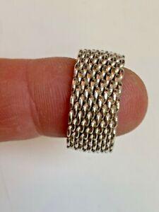 Tiffany & Co. Sterling Silver 925 Vintage wide chain soft flex Mesh Ring~sz 71/2