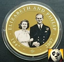 2007 COOK ISLANDS $1 ELIZABETH & DUKE PHILIP 24K GOLD PLATED PROOFLIKE PHOTO