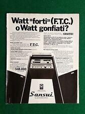 PY115 Pubblicità Advertising Clipping 24x19 cm (1980) SANSUI STEREO WATT