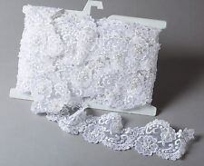 """White Embroidered Organza Beaded Sequins 3.25"""" Wide Bridal Trim By the Yard #205"""
