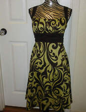 Womens Dressbarn Gold Brown Paisley Ranched Pin Up Sundress Dress Size 8
