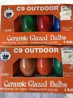 Vtg C9 Outdoor Ceramic Glazed Bulbs Lot Of 2 Pk (8 Bulbs Total) Multi Colors