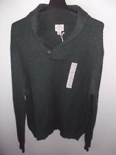 ST JOHNS BAY - MEN - SWEATER - BUTTON COWL - DK GRN - SIZE 2-XL   (AC-25-201x2)