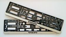 2 x SILVER NUMBER PLATE SURROUNDS HOLDER FRAME FOR ANY VOLVO CARS