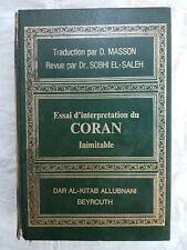 Corano D.Masson Essai d'interpretation du Coran- D.Masson El Saleh Beyrouth 1967