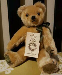 "MerryThought Harrods Golden Mohair Teddy Bear WIth Original Tags 12"""