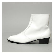 "Men's glossy white side zipper hand made KOREA 1.77"" cuban heels ankle boots"