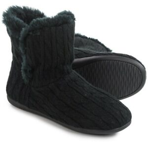 Vionic Shoes Womens 6 Black Cozy Kari Cable Slipper Boot Orthaheel Booties