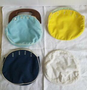 VTG '80s Bermuda Wood Handle Bag Purse - 4 Interchangeable/ Reversible Covers