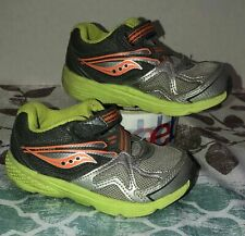 Toddler Saucony Lime Green Gray Orange Strap Sneakers Size 6XW Athletic Shoes
