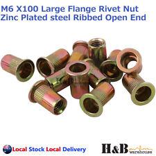 M6 X 100 Nutserts Rivet Nuts Flange Blind Rivnuts Zinc Plated Steel Nut Nutsert