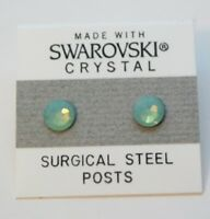 Green White Round Stud Earrings 5mm Circle Crystal Made with Swarovski Elements