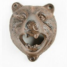 BEAR Wall Mounted Bottle Opener CAST IRON Finish for Kitchen, Bar Area, BBQ UK