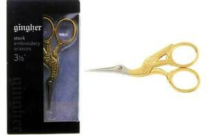 Gingher 220490-1101 Gold Stork Embroidery Scissors 3.5 Inch w/ Leather Sheath