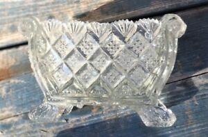 Very Good EAPG Flint Lacy Glass Master Open Footed Basket Salt