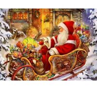 5D Full Drill Diamond Painting Stitch Embroidery Christmas Xmas Santa Claus Sled