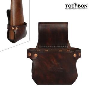 Tourbon Leather Shotgun Rifle Holder Gun Buttstock Holster Hip Belt Carry Retro