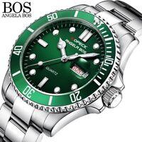 ANGELA BOS Colorful Diver Watch Waterproof Swimming Watch Men Stainless Steel