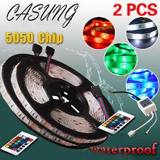 2 x 5M/16.4ft 5050 RGB SMD Waterproof LED Strip Lights 300 24 Key Remote DC 12V