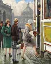 At the Tram Stop by Paul G Fischer - Streetcar Girls Boarding  8x10 Print 1394
