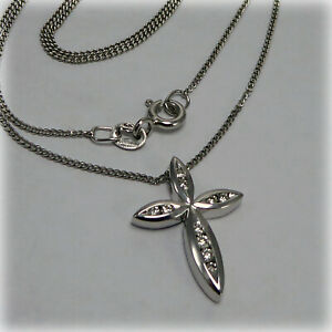 """Diamond set Cross in 9ct White Gold, on 16/18"""" adjustable Trace Chain"""