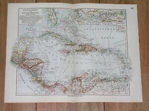 1912 ANTIQUE MAP OF WEST INDIES CARIBBEAN FLORIDA PUERTO RICO COSTA RICA BAHAMAS