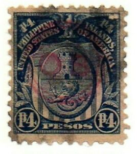 1911-1926 PHILIPPINES/US HAND STAMPED OB Red x2 Circles 4 Peso Stamp Used Hinged