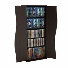 35in Cd/Dvd Tower Rack Shelf Storage Atlantic Wood Stand Cabinet Organizer Brown