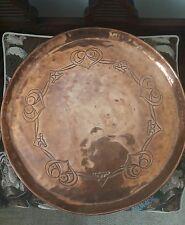 Antique copper large tray charger plate , arts & craft Art nouveau design