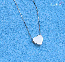 925 Sterling Silver Lovely Tiny 3D Love Heart Pendant Charm Chain Necklace 18''