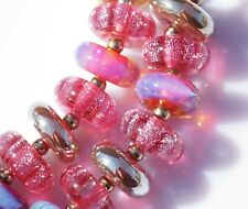 FRISKEY handmade Lampwork Glass Beads, SPARKLING PINKS!!!