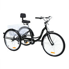 Ridgeyard 26 7-Speed Adult 3-Wheel Low Step Tricycle Trike Bicycle Bike Backrest