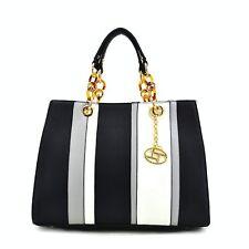 HANDBAG Multi Color Stripe Bag  Black/WHITE/GREY SHOULDER STRAP