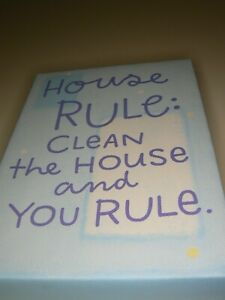 Hallmark House Rule Canvas Wall Art Clean The House and You Rule Blue Hanger