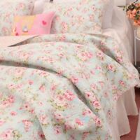 3 PCS Country Cottage Floral Cotton Bedspread Quilt Coverlet Shabby Chic Blue