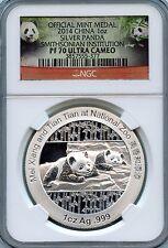 2014 1oz Silver Panda Smithsonian Institution NGC PF 70 Ultra Cameo COA & Box