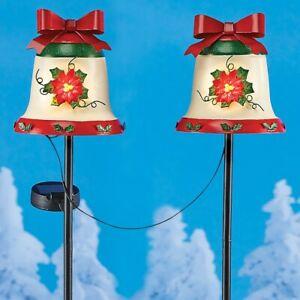 Set of 2 Solar Powered Christmas Poinsettia Bells Garden Pathway Stakes