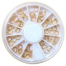 240pcs Glitter Alloy Metal Gold Hollowed Ring Moon Oval Star Nail Art Tips Wheel
