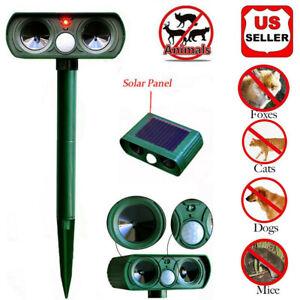 Hot Ultrasonic Solar Power Pest Animal Repeller Repellent Garden Cat Dog MY USA