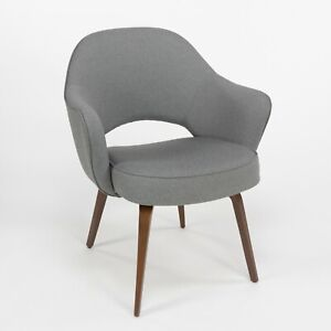 2020 Eero Saarinen for Knoll Grey Fabric Executive Armchair with Wooden Legs
