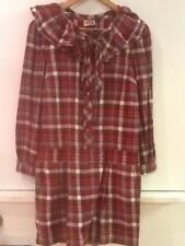 Juicy Couture Red Gray Plaid Long Sleeve Drop Waist Dress Size 2