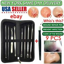 COMEDONE EXTRACTOR BLACKHEAD REMOVER ANCE BLEMISH TOOL KIT OF 9 FACIAL SKIN CARE