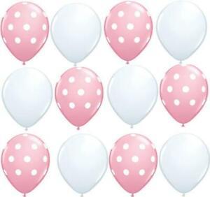 "12 PC Pink and White dot Balloons 11"" latex Balloon wedding shower Birthday"