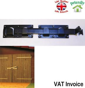 LATCH FOR GATES Bolt STABLE SHED GARAGE Double Door Latch 440mm - Black
